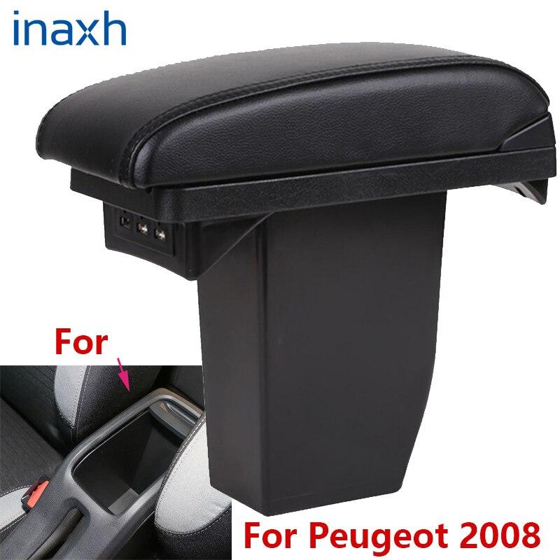 For Peugeot 2008 Armrest box Retrofit parts Car special Armrest Center Storage box car accessories Interior special With USB